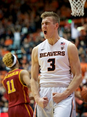 Oregon State forward Tres Tinkle (3) reacts after scoring in a 85-70 victory over No. 21 USC at Gill Coliseum on Jan. 24, 2016.