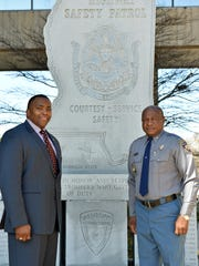 Mississippi Highway Patrol Col. Donnell Berry, right,