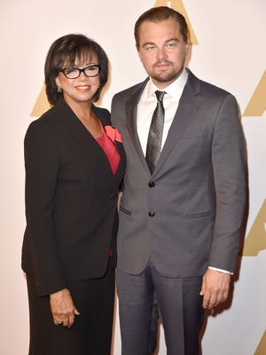 Academy of Motion Picture Arts and Sciences President Cheryl Boone Isaacs (left) and actor Leonardo DiCaprio attend Monday's Academy Awards luncheon.