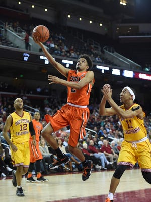 Oregon State freshman guard Stephen Thompson Jr. made his first career start in Wednesday's loss at USC.