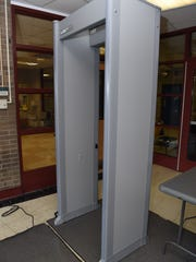 A metal detector at Poughkeepsie High School in New York. A bill sponsored by Sen. Robert Marshall, D-Wilmington, would have set aside $10 million for schools to install metal detectors, to be used to screen all book bags, containers and packages