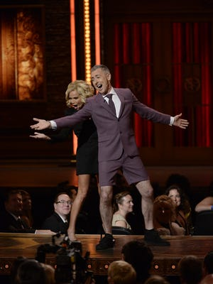 Kristin Chenoweth and Alan Cumming perform an opening number as hosts of the 69th annual Tony Awards at Radio City Music Hall on June 7, 2015. She opens the 2016-17 season at the Mayo Performing Arts Center in September; Cumming is scheduled to appear on the Morristown stage in October.