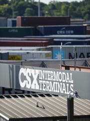 Many containers wait to be moved at the Radnor Rail Yard facility June 29, 2016 in Nashville, Tenn.