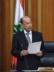 A handout picture provided by the Lebanese Parliament