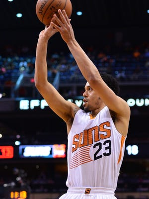 Phoenix Suns guard John Jenkins (23) shoots the ball in the first half against the Utah Jazz on April 3, 2016.