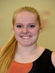 Centerville High School gymnast Sarah Rohe Wednesday, March 1, 2017, at the Rec Plex in Richmond.