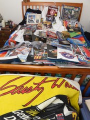 A view of some of Donna Brunow's NASCAR memorabilia collection.