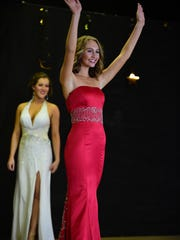 Gabrielle Flynn takes part in the evening gown revue