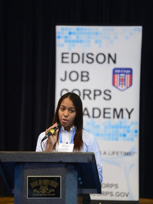 Student Aurora Romero speaking on behalf of students from the Puerto Rico Job Corps centers who recently arrived to New Jersey to continue their studies at Edison Job Corps.
