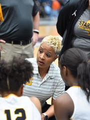 Starkville head coach Kristie Williams gives her team instructions during a time out against St. Msrtin during the MHSAA Girls 6A Tournament held at Jackson State in Jackson MS.(Photo/Bob Smith)