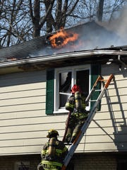Firefighters battle a blaze that occurred Wednesday