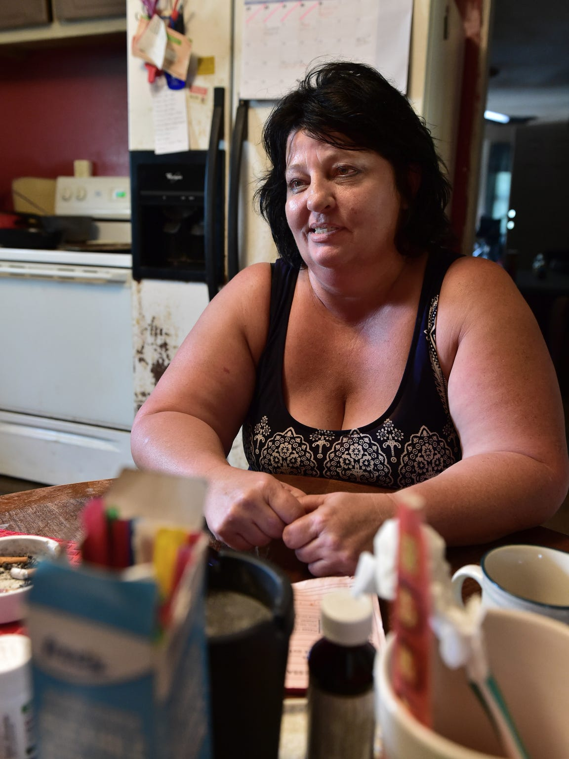 Marty Jean Pettit of Mantachie sits in the kitchen
