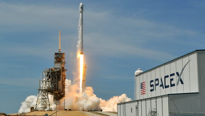 A SpaceX Falcon 9 rocket lifts off from Kennedy Space Center Friday, June 23, 2017.  The previously flown booster is carrying a Bulgarian communications satellite.