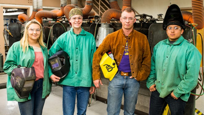 Pictured in WNMU's welding shop from left are Southwest New Mexico Home Builders Association scholarship recipients Chyla McBride, Wellington Woodward, Clay Rice and Luke Vega. Not pictured are Gilberto Barrios Jr. and Wesley Lamb.