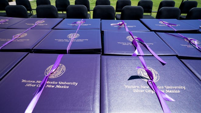 Western New Mexico University diplomas sit ready to be distributed at the Fall 2017 graduation ceremony on Friday, Dec. 8.