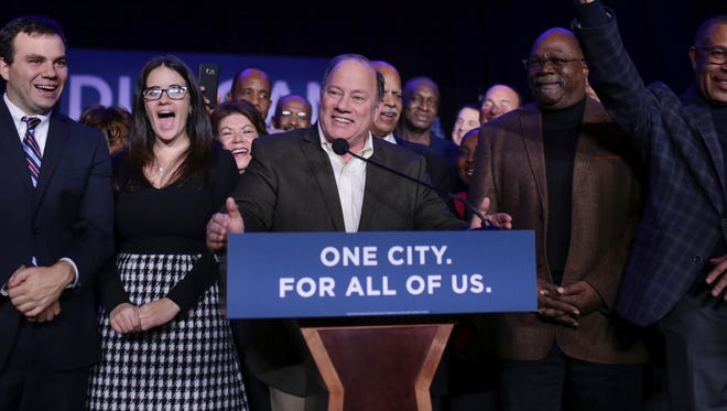 Mayor Mike Duggan speaks to supporters after being re-elected as Detroit's mayor during the Duggan for Detroit Campaign Election Night Party at the Renaissance Ballroom of the Detroit Marriott Renaissance Center on Tuesday November 7, 2017 in downtown Detroit.
