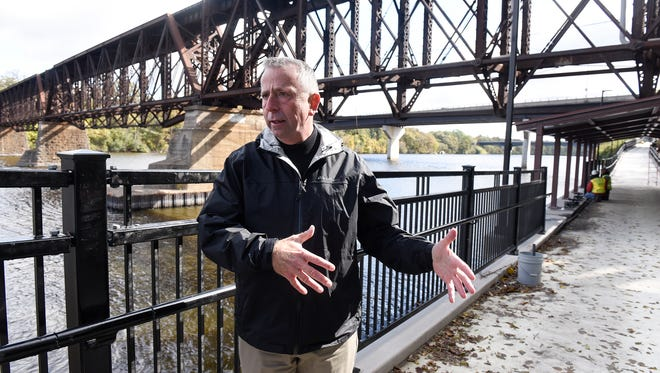 Mayor Dave Kleis talks about features of the downtown extension of the Beaver Islands Trail Friday, Sept. 7, in St. Cloud.