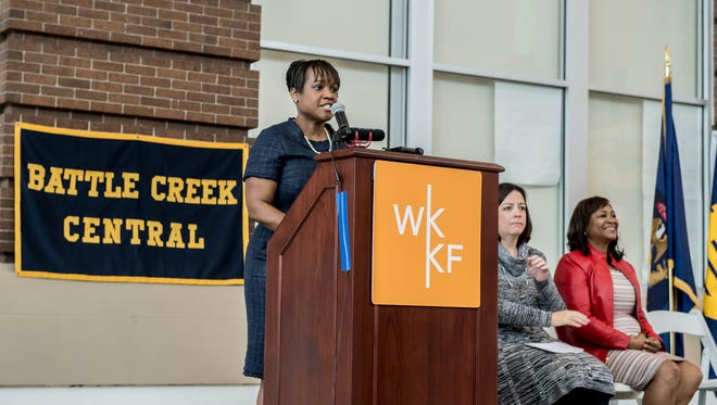 Battle Creek Public Schools Superintendent Kim Carter speaks during W.K. Kellogg Foundation's May 5 announcement at Battle Creek Central High School.