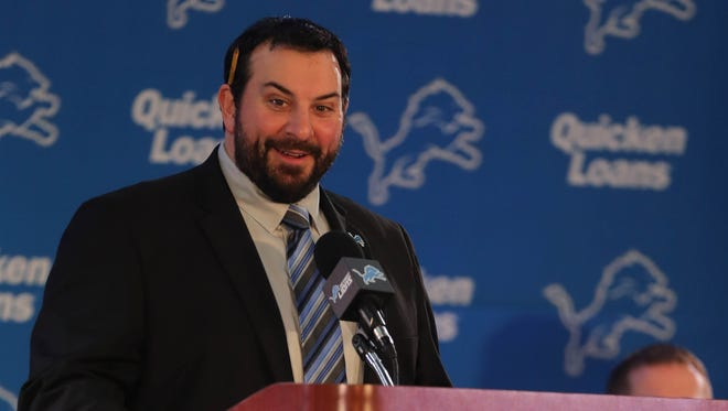 New Lions head coach Matt Patricia answers questions Wednesday at the practice facility in Allen Park.