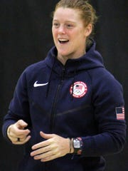 Alev Kelter, a member of the U.S. women's rugby team, laughed as she shared her Olympic experience with students Wednesday afternoon.