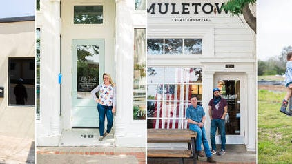 From left, John Davis of Finishing Touch Barber shop, Lucy McEwan of Lily Jane, Chris Coyne and Matt Johnson of Muletown Coffee and Steven and Christine Bailey of Kindred Farm are featured in Sarah B. Gilliam's new Small Business Portrait Series.