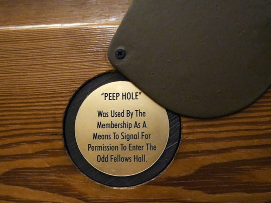 A peep hole used by the Independent Order of Odd Fellows  to enter the ceremonial hall. The peephole and door still exist in the Oddfellows Gallery in downtown Hattiesburg.