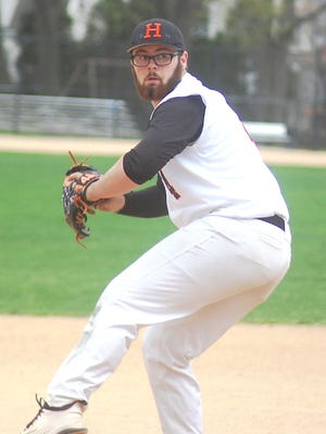 Hasbrouck Heights senior Christian DeLorenzo firing a pitch against St. Mary on April 19.