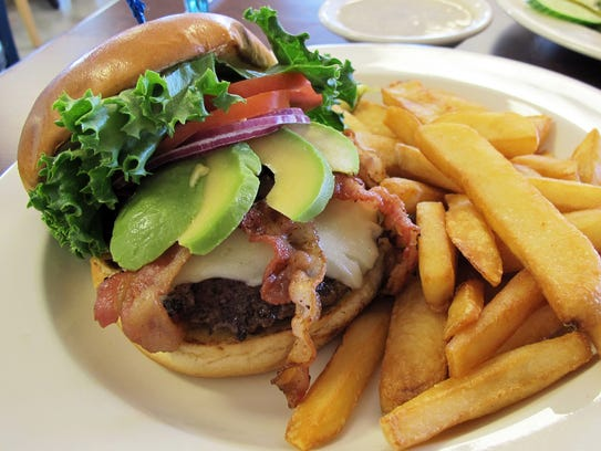 The Avocado Burger with bacon and Swiss at the new