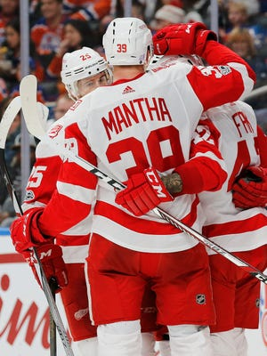 Nov 5, 2017; Edmonton, Alberta, CAN; The Detroit Red Wings celebrate a second period goal by Detroit Red Wings forward Martin Frk (42) against the Edmonton Oilers at Rogers Place.