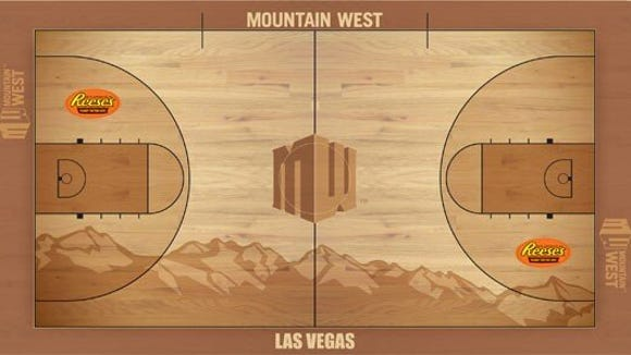 A look at the court that will be used at the Mountain West Tournament this week in Las Vegas.