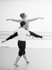 Leisl Whitaker and Sterling Young rehearse the roles of Swalinda and Franz for CCJB's 2016 production of Coppelia.
