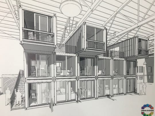 A rendering of shipping container-style apartments at the corner of Hosmer and Hazel Street in Lansing.