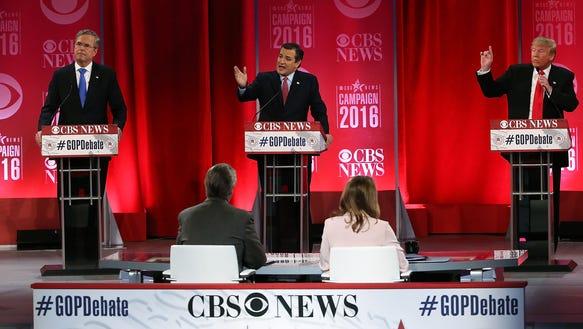 Jeb Bush, Ted Cruz and Donald Trump participate in