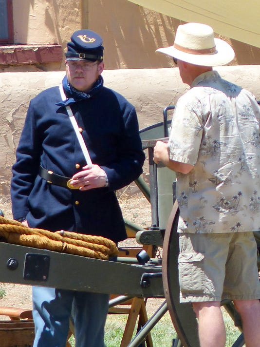 soldier with visitor fort stanton live