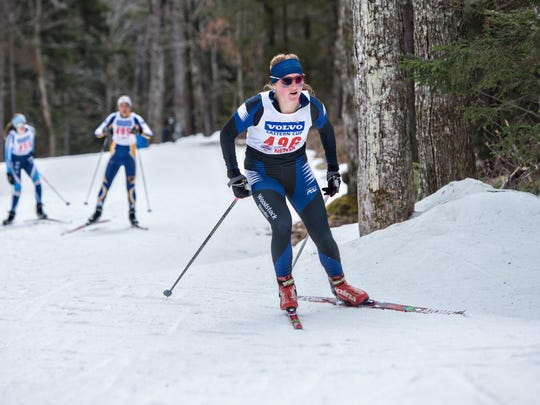Woodstock High skier Abby Kaija, Reading, on her way to winning the D-II girls' skate race of the Vermont high school state Nordic championships.