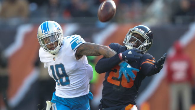 Kenny Golladay is defended by the Chicago Bears' Prince Amukamara in the third quarter of the Detroit Lions' 27-24 win Sunday, Nov. 19, 2017 at Soldier Field in Chicago.