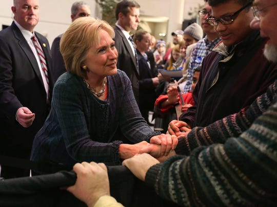 Sen. Hillary Clinton greets supporters at Gallagher Bluedorn Performing Arts Center in Cedar Falls at 7:54 p.m. Tuesday, Jan. 16, 2016. The Democratic presidential candidate arrived late due to road conditions in Northeast Iowa, where she spoke earlier.
