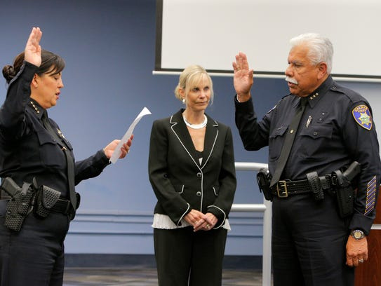 Salinas Police Chief Adele Frese conducts the swearing