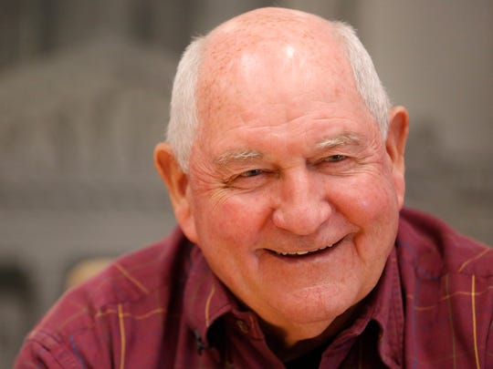 U.S. Secretary of Agriculture Sonny Perdue talks with