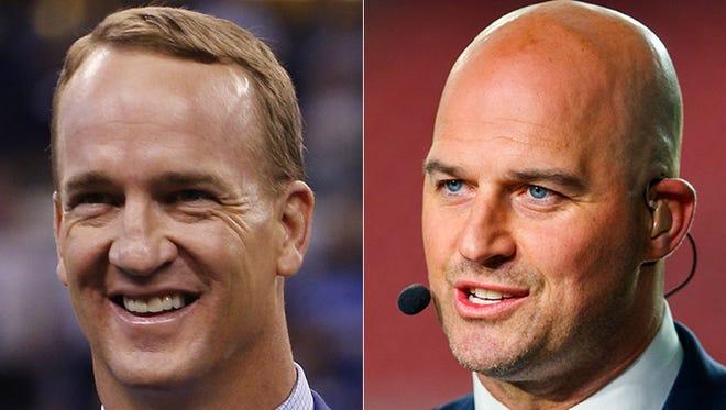 Peyton Manning (left) and Matt Hasselbeck.