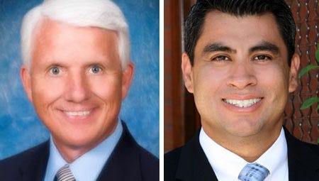 Buckeye Town Manager Stephen Cleveland (left), whose annual salary was bumped to $190,000 after receiving a 15 percent raise last year, and Tolleson City Manager Reyes Medrano Jr., who received an 18 percent raise last year that increased his annual salary to $180,000, each oversee communities with relatively few residents.