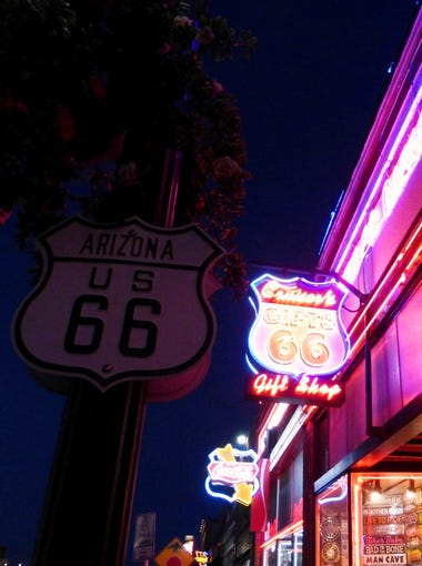 A splash of neon brightens up downtown Williams.