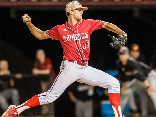 Evan Guillory threw 4.1 shutout innings in relief against Arkansas State in UL's win Friday night.