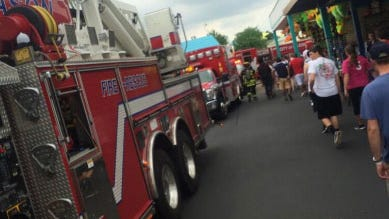 Crews from several area fire departments responded to Kings Island Monday.  A motor on Flight of Fear was found to be smoking.