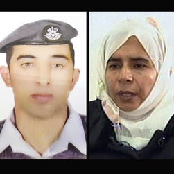 Jordanian pilot Lt. Muath al-Kaseasbeh, left, and Sajida al-Rishawi, an Iraqi woman sentenced to death in Jordan for her involvement in a 2005 terrorist attack on a hotel that killed dozens of people.