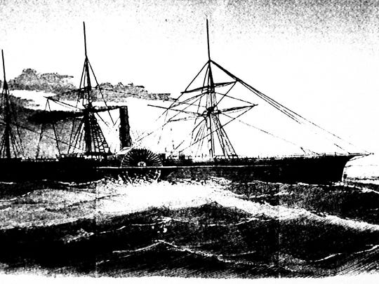 undated drawing made available by the Library of Congress shows the U.S. Mail ship S.S. Central America, which sank after sailing into a hurricane in September 1857 in one of the worst maritime disasters in American history; 425 people were killed and thousands of pounds of gold sank with it to the bottom of the ocean. (AP)