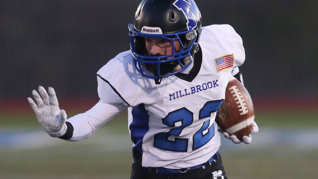 The Millbrook football team discusses its improbable run to the state semifinals and its upcoming opponent, a roster bolstered by eighth-graders and the community support of athletics.