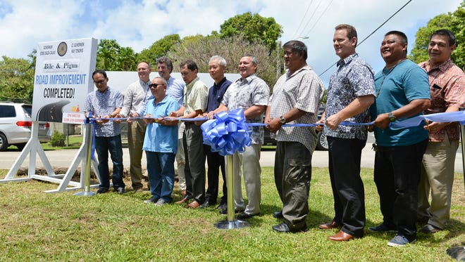 Government officials cut the ribbon celebrating the newly renovated bridges in Merizo on June 20, 2018. The Bile and Pigua bridges have been under construction for the past decade, the first inspection of the bridge was in 2005. The bridge project was completed by Korando Coporation and cost $3.6M.