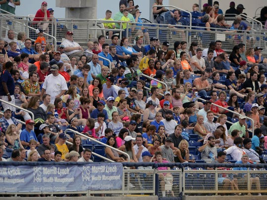 Fans check out the actionbetween the Blue Wahoos and the Biloxi Shuckers Saturday night at Admiral Jack Fetterman Field.