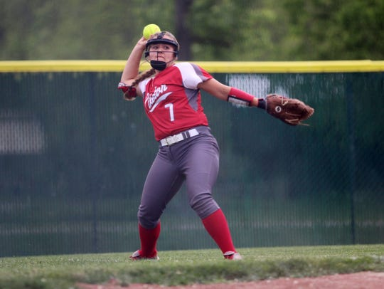 Piketon's Breanna Eick makes a throw from the outfield